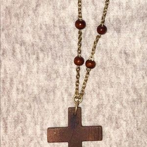 Vintage cross necklace hobo style